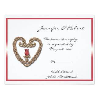 """Celtic Heart with a Red Rose Response Card 4.25"""" X 5.5"""" Invitation Card"""