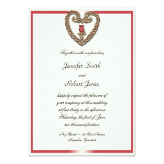 Celtic Heart with a Red Rose Wedding Invitation
