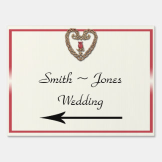 Celtic Heart with Red Rose Wedding Direction Sign