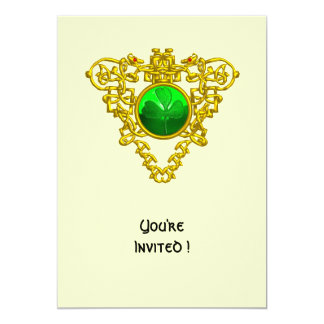 CELTIC HEART WITH SHAMROCK ST PATRICK'S DAY PARTY 5X7 PAPER INVITATION CARD