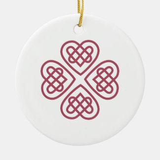 Celtic Hearts Ceramic Ornament