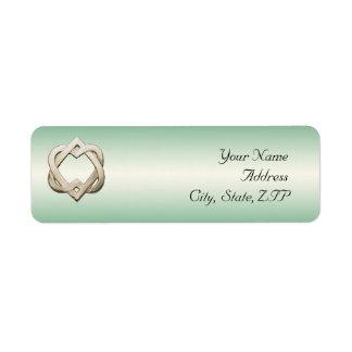 Celtic Hearts on Green Gradient Custom Return Address Label