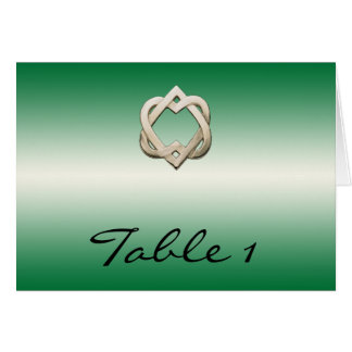 Celtic Hearts on Green Gradient Table Number Cards