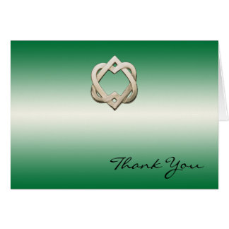 Celtic Hearts on Green Gradient Thank You Card