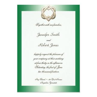 "Celtic Hearts on Green Gradient Wedding Invitation 5"" X 7"" Invitation Card"