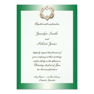 Celtic Hearts on Green Gradient Wedding Invitation