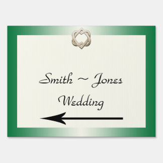 Celtic Hearts on Green Wedding Direction Sign