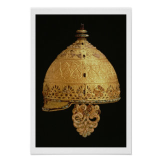 Celtic helmet found at Agris, Charante, 4th centur Poster
