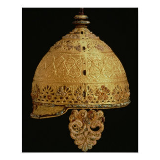 Celtic helmet found at Agris, Charante, 4th centur Poster