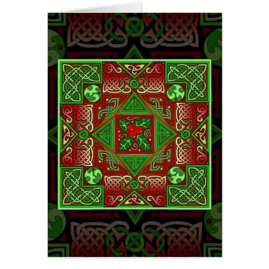 Celtic Holly Labyrinth Card