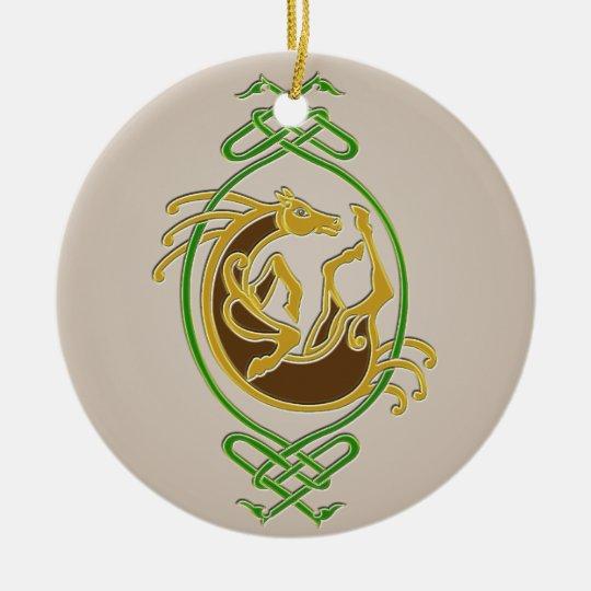 Celtic Horse - colors Ceramic Ornament