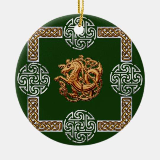 Celtic Horse Design Ceramic Ornament