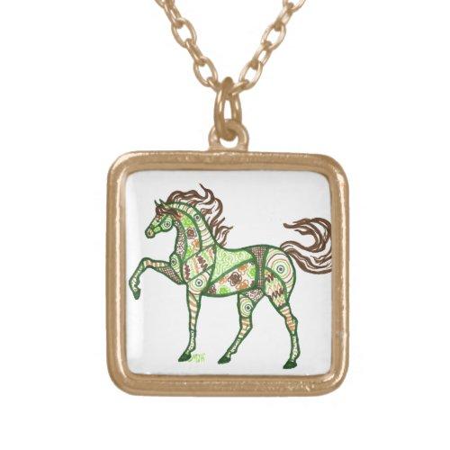 Celtic Horse Design Gold Tone Necklace