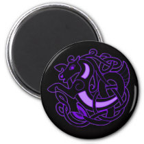Celtic Horse Knot - Purple   Black Magnet