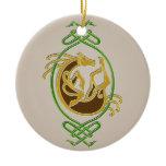 Celtic Horse Knotwork - Green & Gold Ceramic Ornament