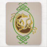 Celtic Horse Knotwork - Green & Gold Mouse Pad