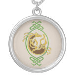 Celtic Horse Knotwork - Green & Gold Silver Plated Necklace