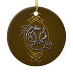 Celtic Horse Knotwork - Silver & Gold Ceramic Ornament
