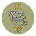 Celtic Horse Knotwork - Silver & Gold Classic Round Sticker