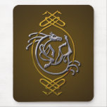 Celtic Horse Knotwork - Silver & Gold Mouse Pad