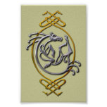 Celtic Horse Knotwork - Silver & Gold Poster