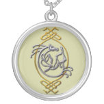 Celtic Horse Knotwork - Silver & Gold Silver Plated Necklace