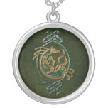 Celtic Horse Knotwork - Stone Silver Plated Necklace