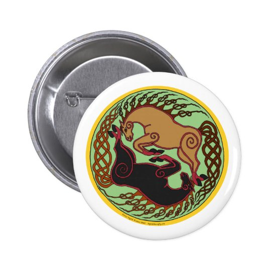 celtic horse yin yang button