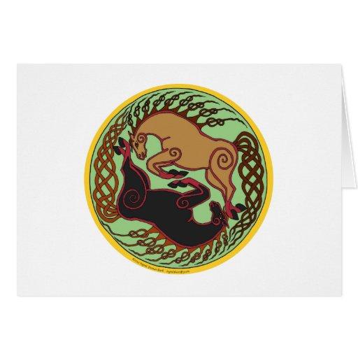 celtic horse yin yang greeting card