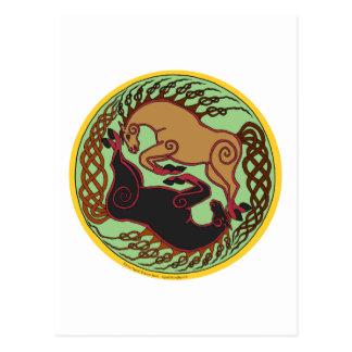 celtic horse yin yang postcard