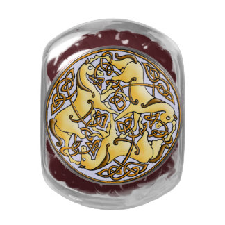 Celtic horses and knots in circle antique pattern jelly belly candy jars