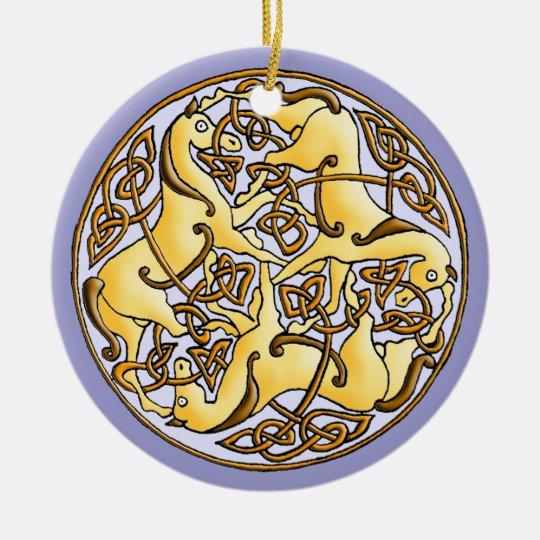 Celtic horses and knots in circle ceramic ornament