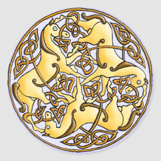 Celtic horses and knots in circle round sticker