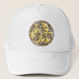 Celtic horses and knots in circle trucker hat