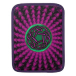 Celtic Hot Pink and Green Fractal Knot Sleeve For iPads