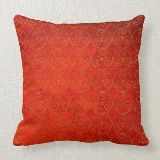 Celtic Icon On Old Red Velvet Effect Background Throw Pillow