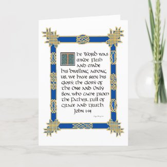 Celtic illuminated calligraphy John 1:14 Christmas Card