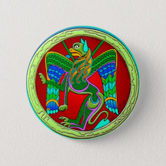 Celtic Illumination - Winged Lion Pinback Button