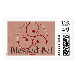 Celtic Inspired Triskele in Rose and Red Postage
