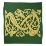 Celtic Irish Gold Snake On Dark Green Bandana at Zazzle