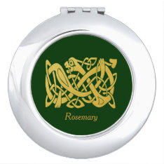 Celtic Irish Gold Snake On Dark Green Compact Makeup Mirror at Zazzle