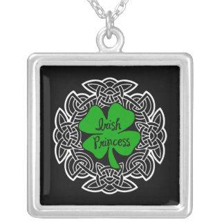Celtic Irish Princess Square Pendant Necklace