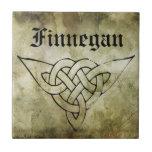 celtic irish symbolic surname linocut small square tile