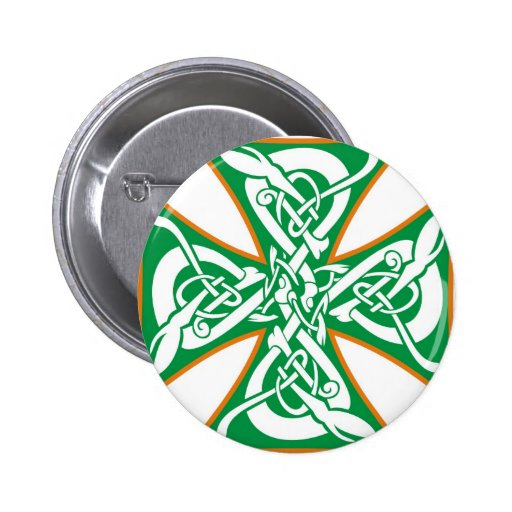 Celtic Iron Cross Orange/Green Pins