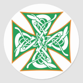 Celtic Iron Cross Orange/Green Classic Round Sticker