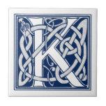 "Celtic K Monogram Tile<br><div class=""desc"">A beautiful,  decorative embossed celtic letter illuminated with gray dragon heads on a velvety dark blue background.</div>"