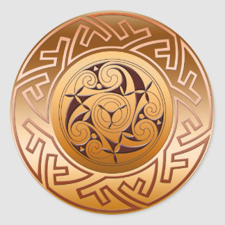 Celtic Key and Spiral Classic Round Sticker