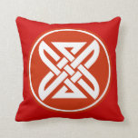 Celtic Knot 1 Red Throw Pillow