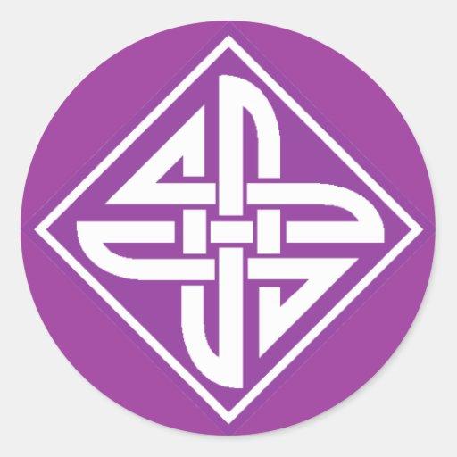 Celtic Knot 2 Purple Classic Round Sticker