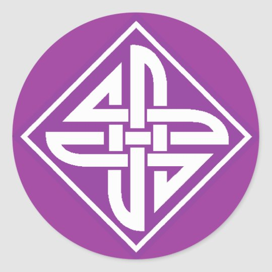 Celtic Knot 2 Purple Classic Round Sticker